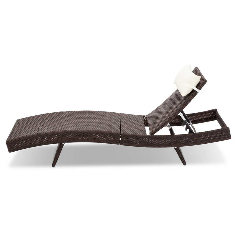 Gardeon Set of 2 Outdoor Wicker Sun Lounges - Brown - Factory Direct Oz