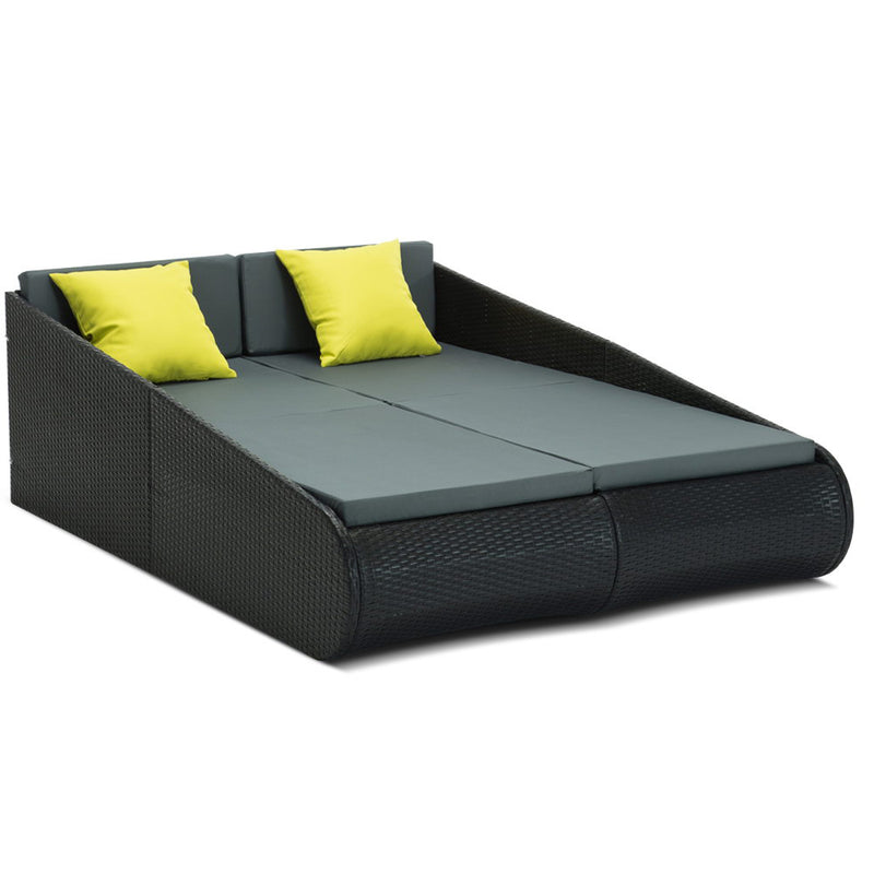2 Seat PE Wicker Sun Lounge Daybed - Black - Factory Direct Oz