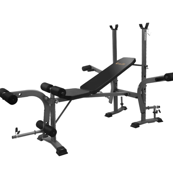 Everfit Multi Station Weight Bench Press Fitness Weights Equipment Incline Black - Factory Direct Oz