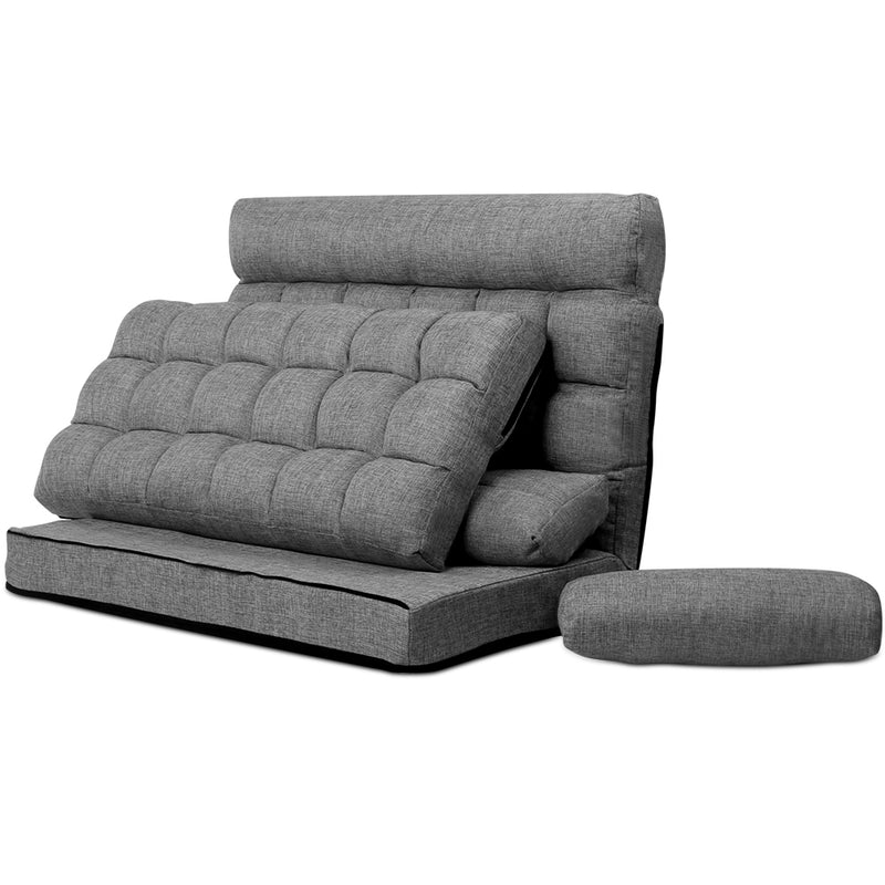 Artiss 2-seater Lounge Sofa Bed - Grey - Factory Direct Oz