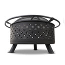 Grillz 30 Inch Portable Outdoor Fire Pit and BBQ - Black - Factory Direct Oz