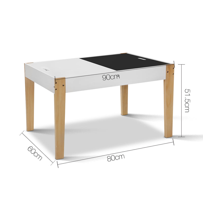Artiss Kids Table and Chair Storage Desk - White & Natural - Factory Direct Oz