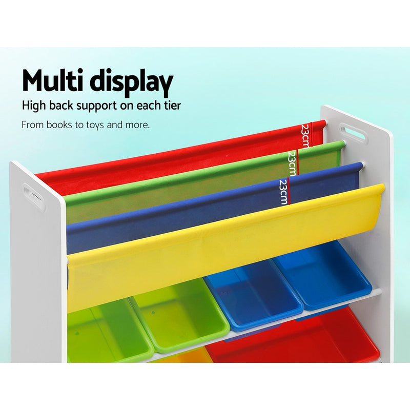 3 Tier Kids Bookshelf with Toy Storage Boxes - Factory Direct Oz