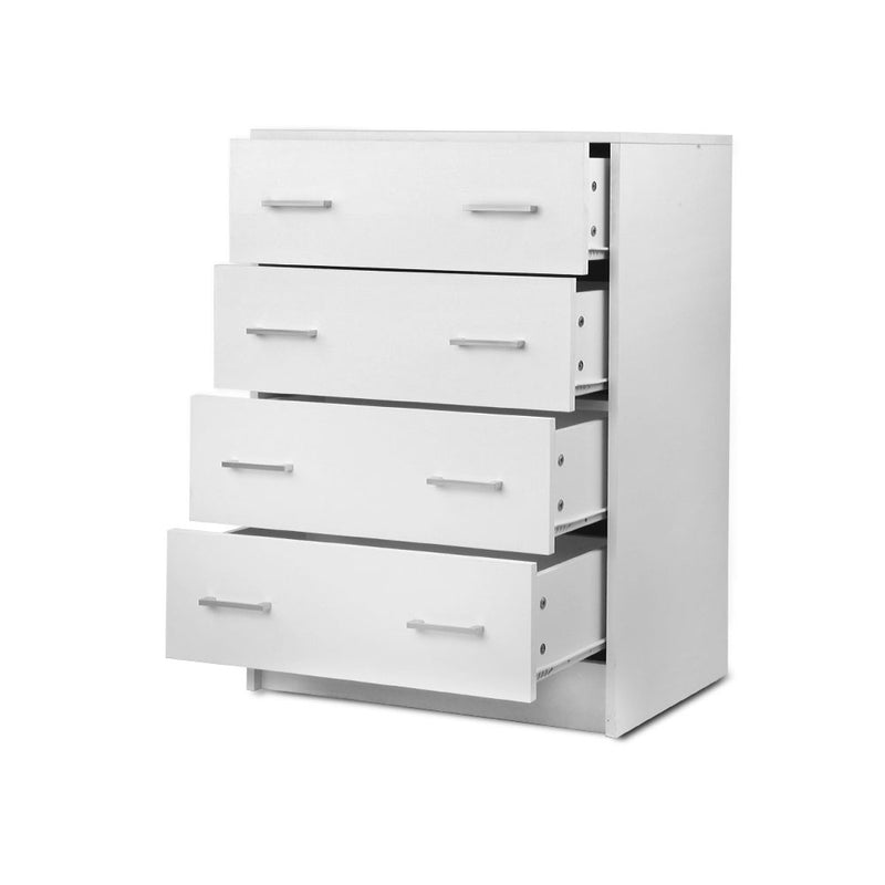 Artiss Tallboy 4 Drawers Storage Cabinet - White - Factory Direct Oz