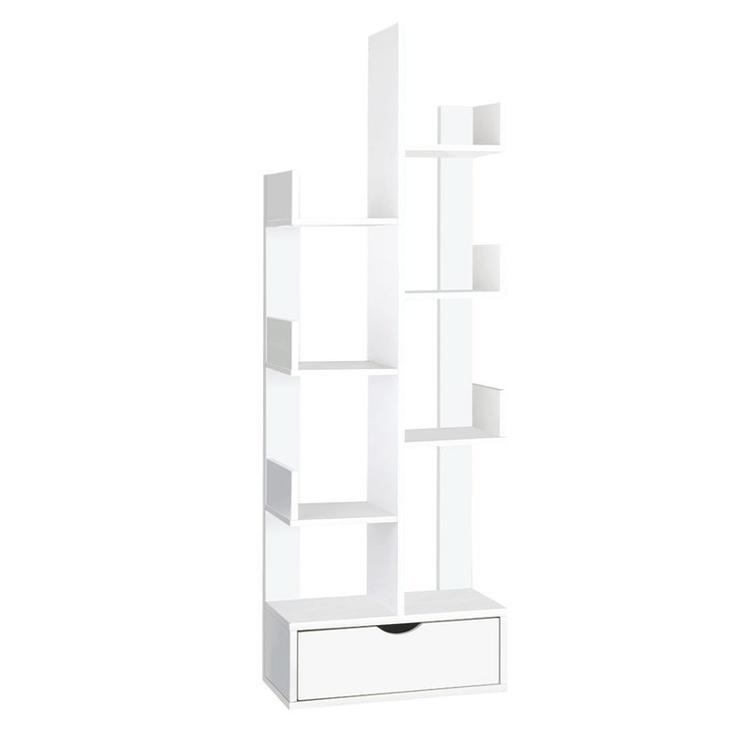 Artiss Wooden Tree Bookcase/CD Shelf - White - Factory Direct Oz