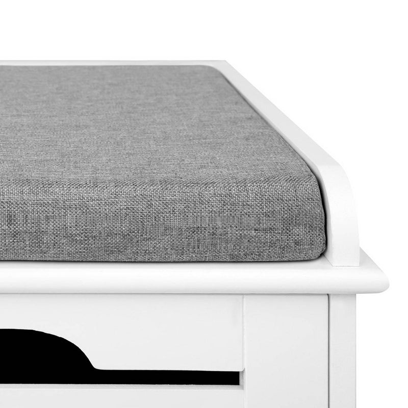 Artiss Shoe Bench with Drawers - White & Grey - Factory Direct Oz