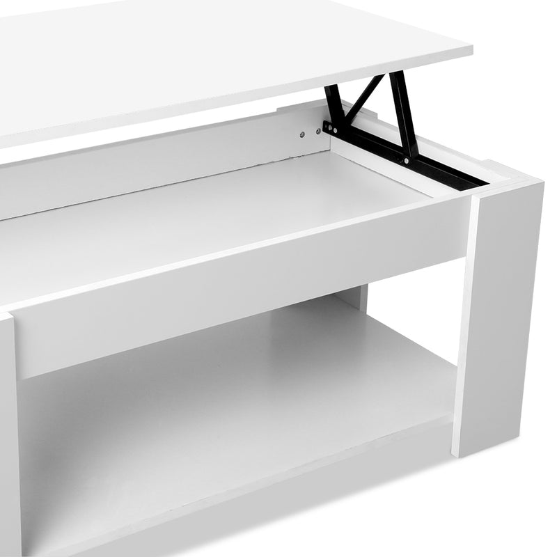 Artiss Lift Up Mechanical Coffee Table - White - Factory Direct Oz