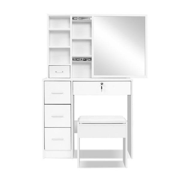 Artiss Dressing Table with Stool/Mirror/Jewellery Cabinet - White - Factory Direct Oz