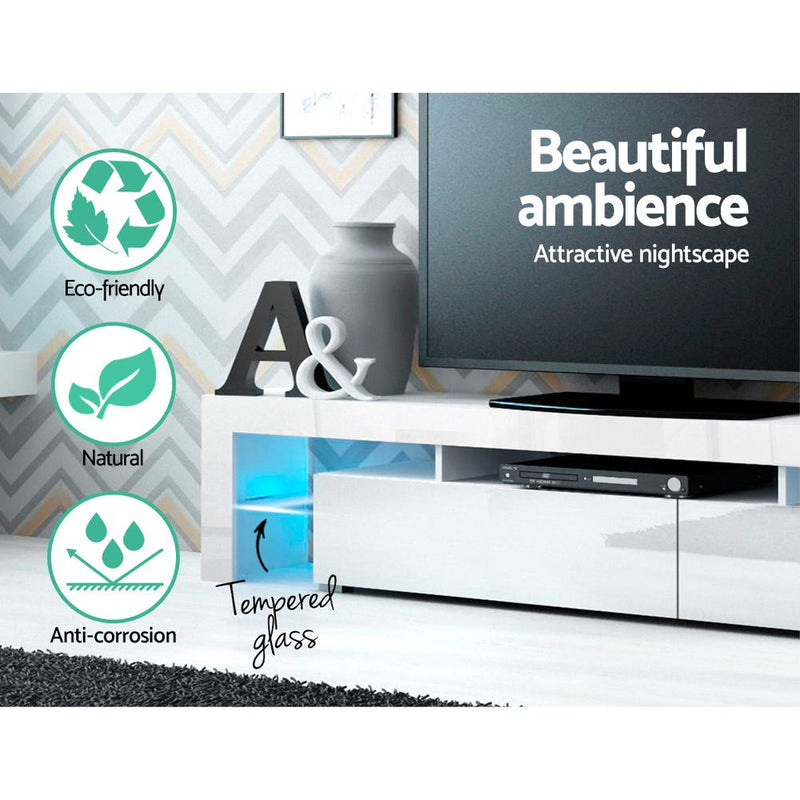 Artiss 200cm LED Gloss White Entertainment Unit - Factory Direct Oz