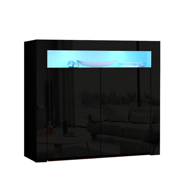 Artiss LED Buffet Sideboard Cabinet - High Gloss Black - Factory Direct Oz