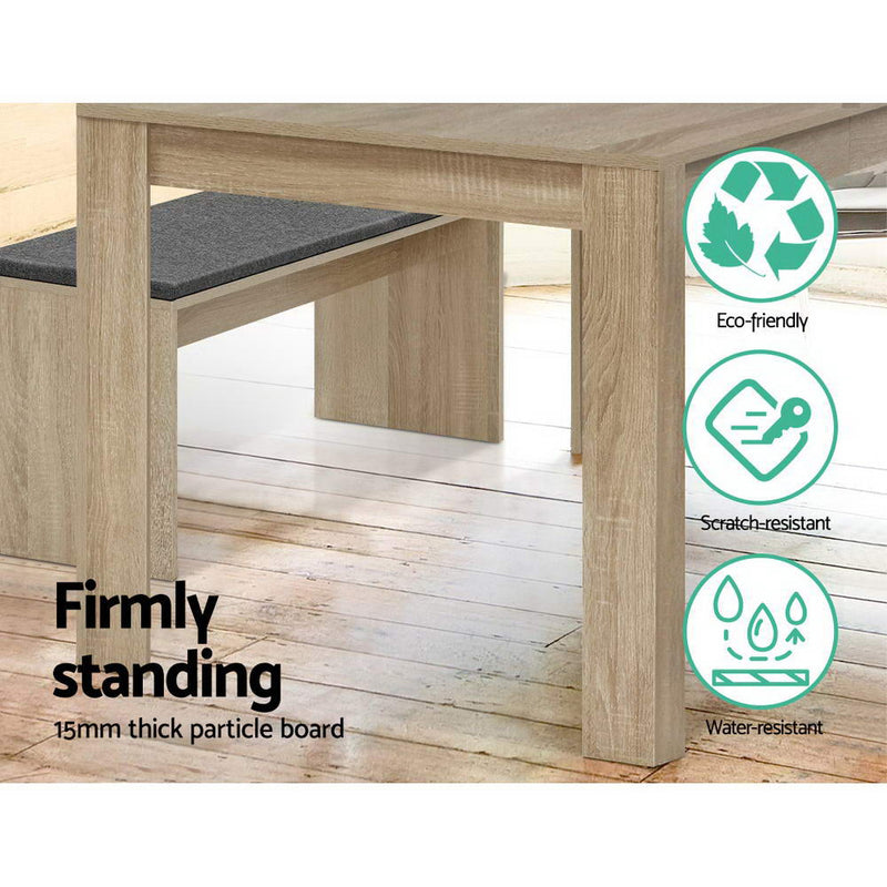 Artiss 4 Seater NATU Wooden Dining Table - Oak - Factory Direct Oz