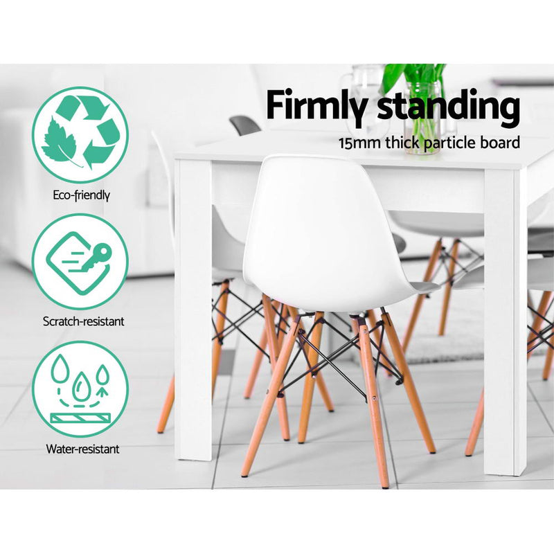 Artiss 4 Seater Wooden Dining Table - White - Factory Direct Oz