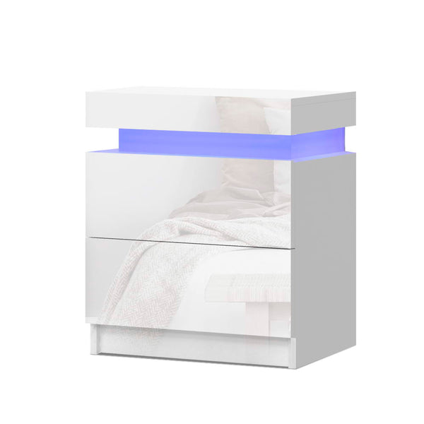 Artiss LED High Gloss Bedside Table - White - Factory Direct Oz