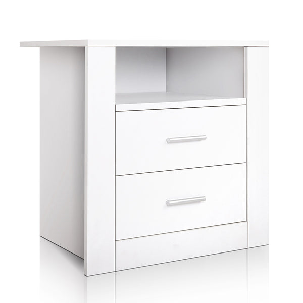 Artiss 2 Drawer Anti-Scratch Bedside Table - White - Factory Direct Oz