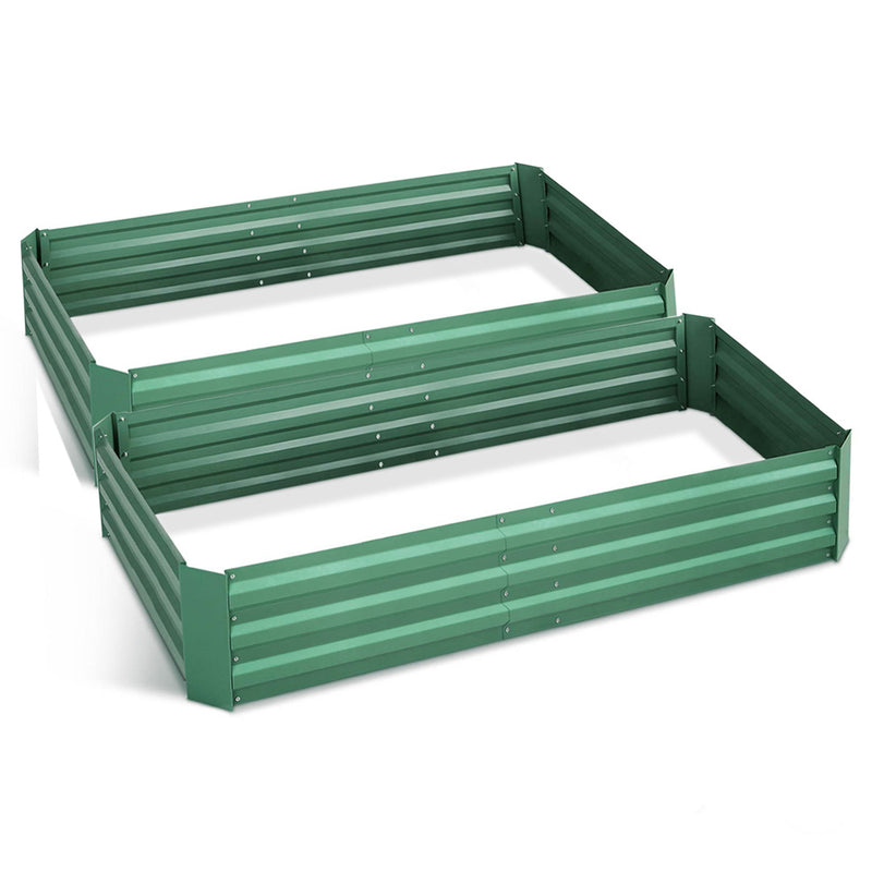 Green Fingers Set of 2 210cm x 90cm Raised Garden Bed - Green - Factory Direct Oz