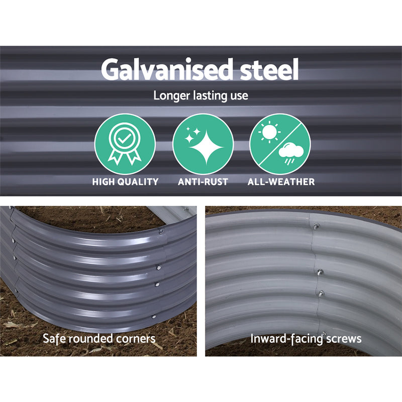 Greenfingers 160X80X42CM Galvanised Raised Garden Bed - Factory Direct Oz