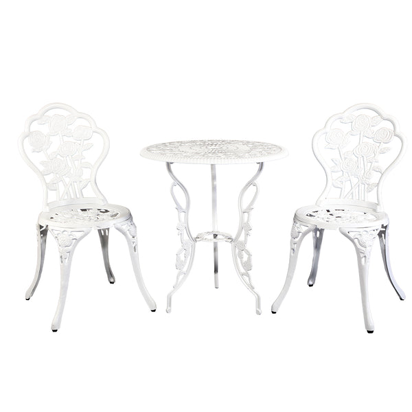 Gardeon  3pc Aluminium Bistro Set - White - Factory Direct Oz