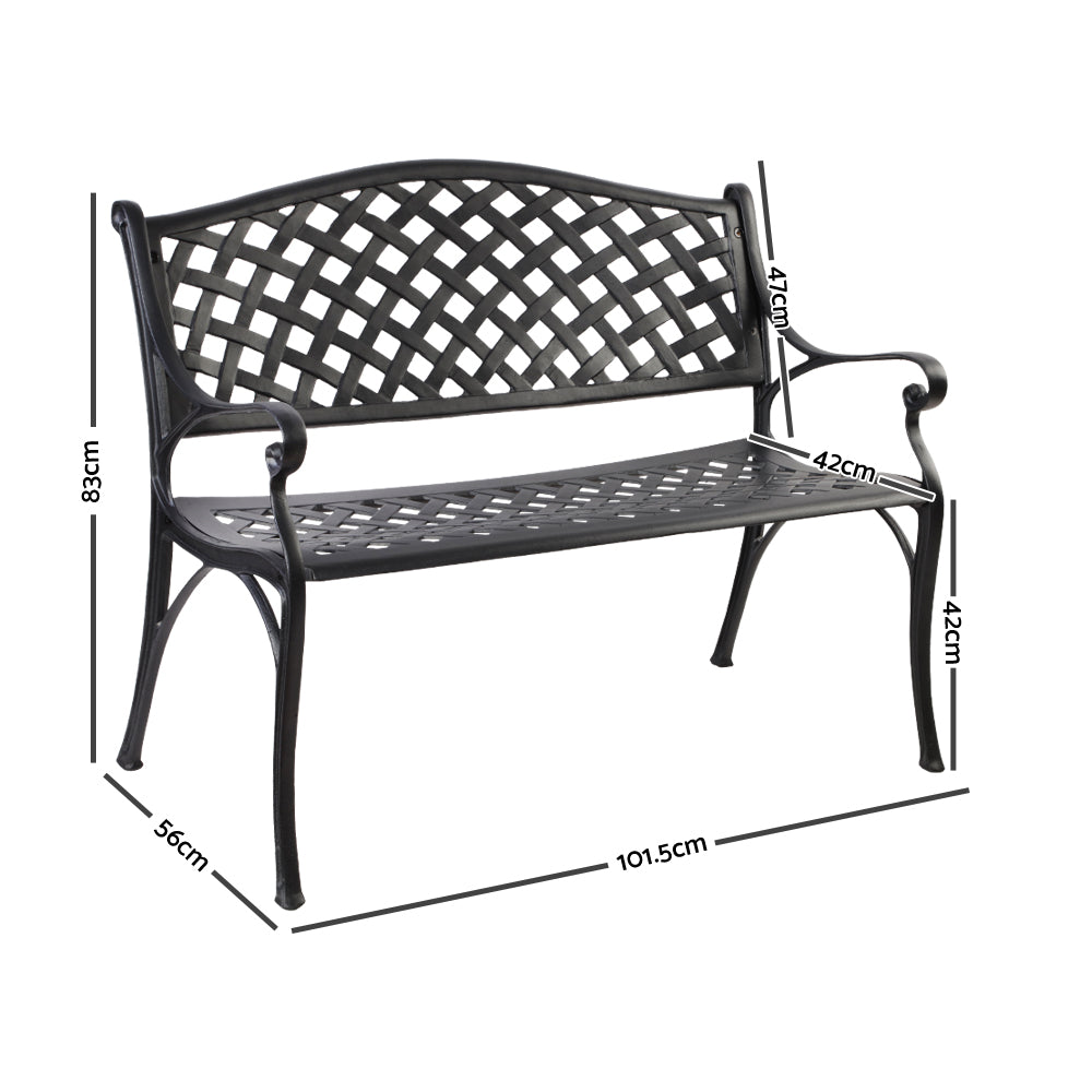 Miraculous Gardeon Cast Aluminium Garden Bench Black Gmtry Best Dining Table And Chair Ideas Images Gmtryco