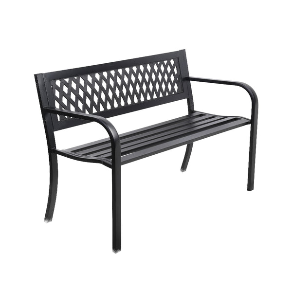 Gardeon Cast Iron Modern Garden Bench - Black - Factory Direct Oz