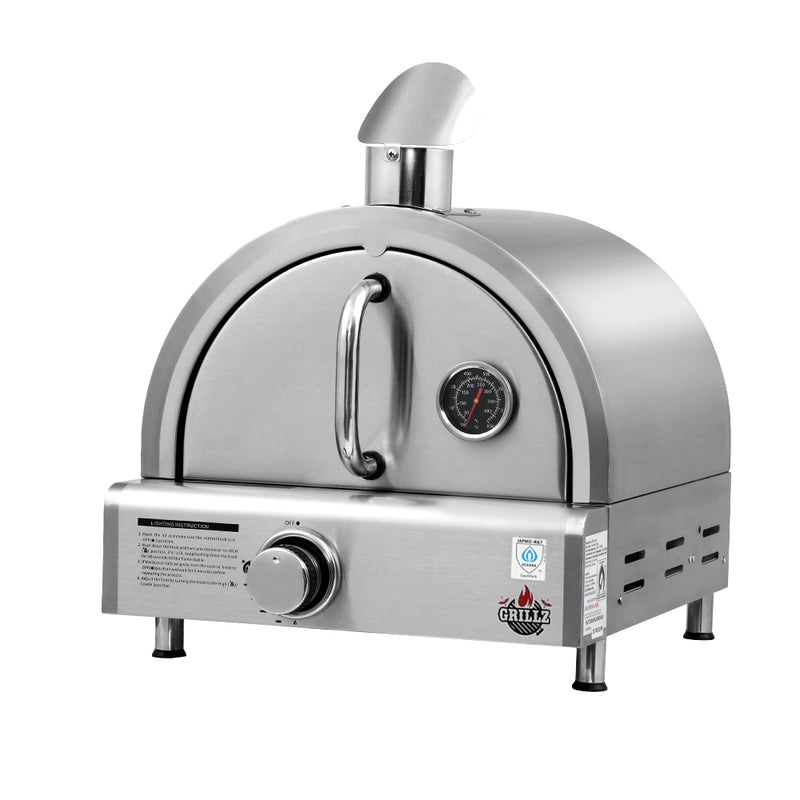 Grillz Portable Gas Pizza Oven - Stainless Steel - Factory Direct Oz
