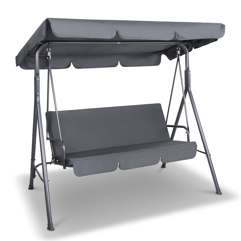 Gardeon Swing Chair with Canopy - Grey - Factory Direct Oz