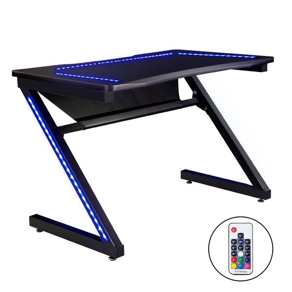 Artiss LED Study/Gaming Desk - Black - Factory Direct Oz