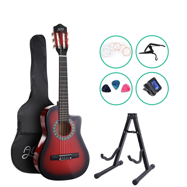 Alpha 34 Inch 1/2 Size Classical Guitar  with Capo Tuner - Red - Factory Direct Oz