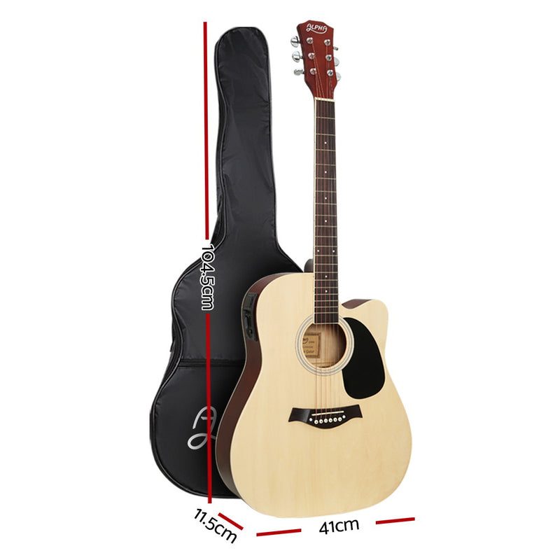 Alpha 41 Inch Electric Acoustic Classical Guitar EQ - Natural - Factory Direct Oz