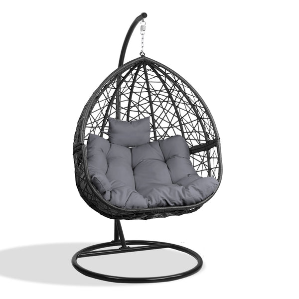 Gardeon Outdoor Hanging Swing Chair - Black - Factory Direct Oz