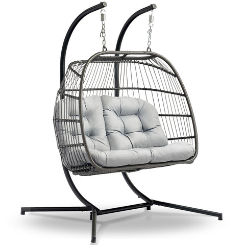 Brilliant Gardeon 2 Person Hanging Egg Chair Grey Caraccident5 Cool Chair Designs And Ideas Caraccident5Info