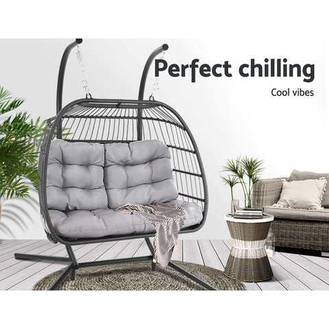 Incredible Gardeon 2 Person Hanging Egg Chair Grey Caraccident5 Cool Chair Designs And Ideas Caraccident5Info