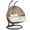 Gardeon Outdoor Double Hanging Swing Chair - Brown - Factory Direct Oz