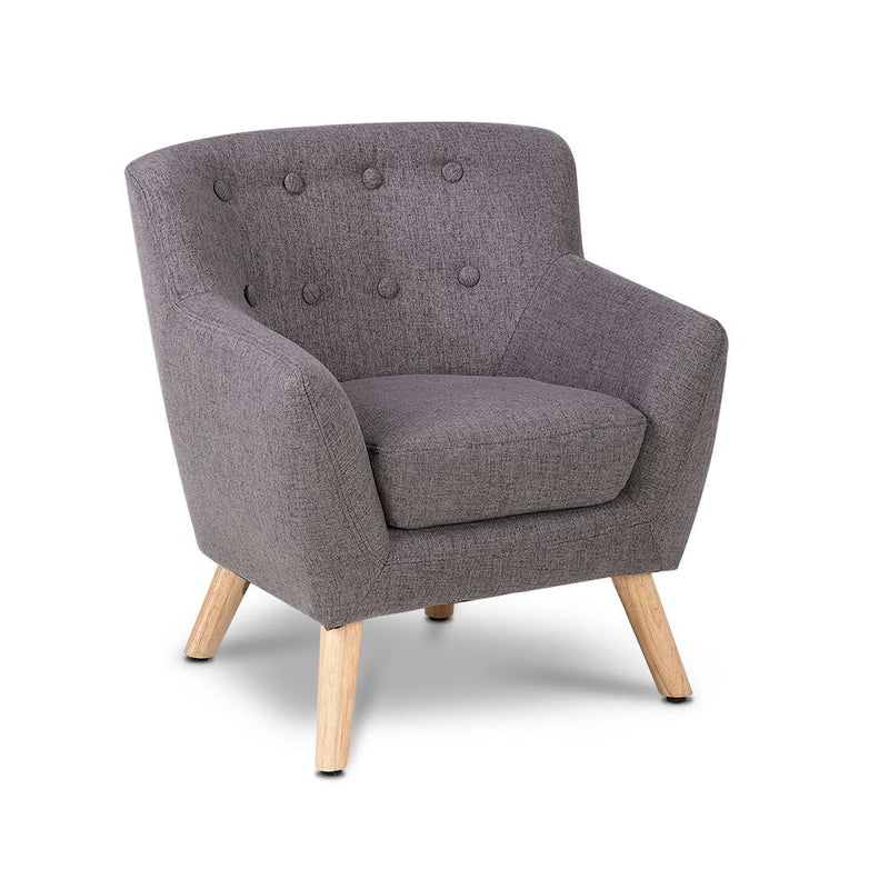 Kids Fabric Accent Armchair - Grey - Factory Direct Oz
