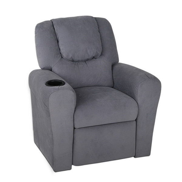 Artiss Kids Fabric Reclining Armchair - Grey - Factory Direct Oz
