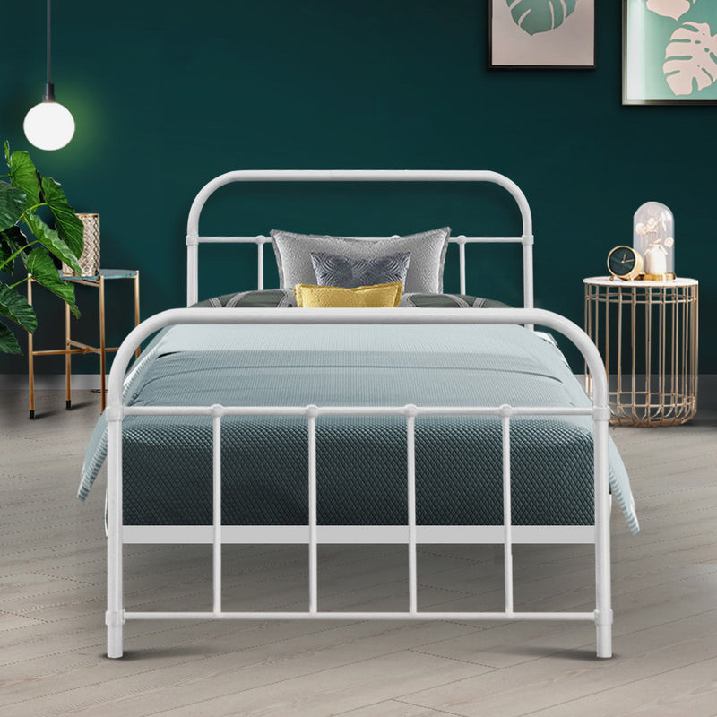 Artiss Single LEO Metal Bed Frame - White - Factory Direct Oz