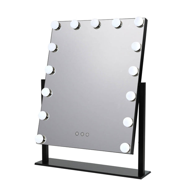 Embellir 15 LED Free Standing Hollywood Makeup Mirror - Black - Factory Direct Oz