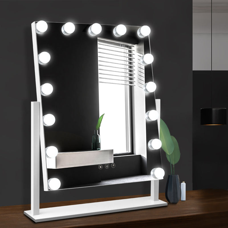 Embellir 15 LED Free Standing Hollywood Makeup Mirror - White - Factory Direct Oz