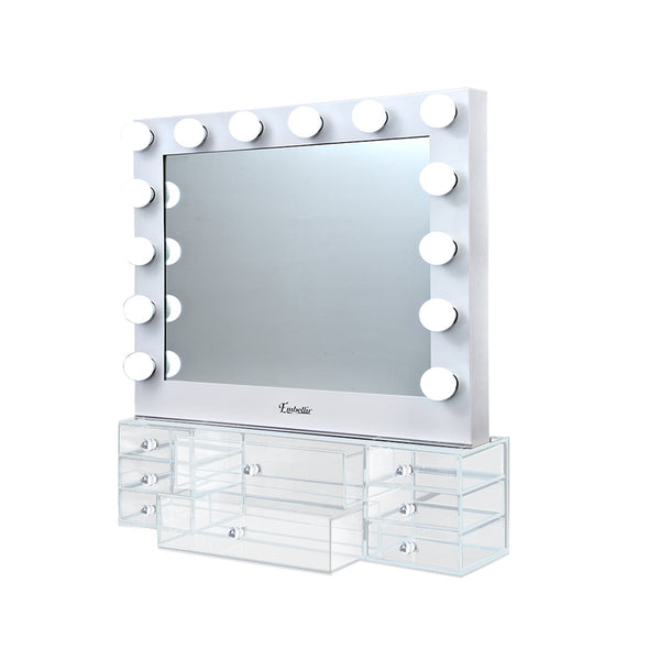 Embellir Hollywood Makeup Mirror & Jewellery Cabinet With LED Light Bulbs - Factory Direct Oz
