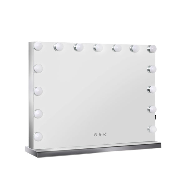 Embellir Hollywood Frameless Makeup Mirror With 15 LED Lights - 58cm x 46cm - Factory Direct Oz