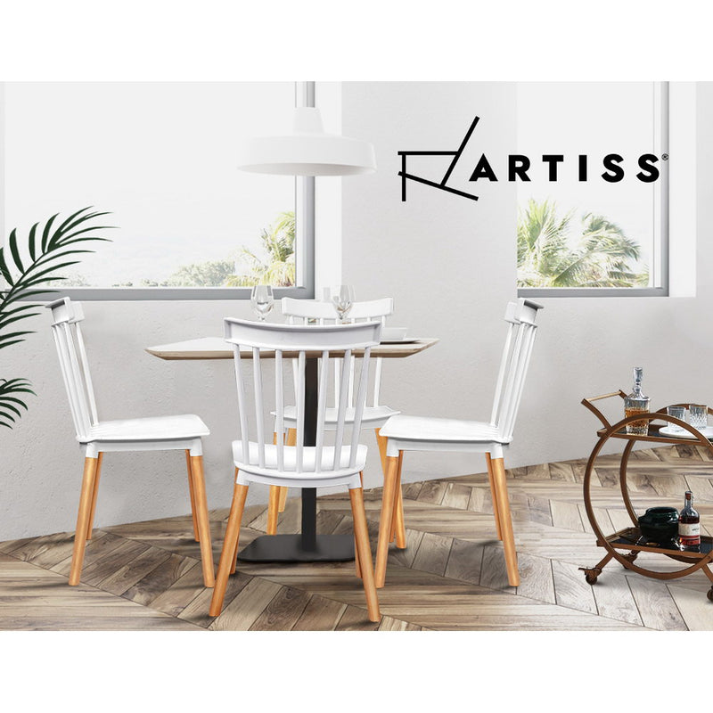 Artiss 4x Retro Cafe Style Dining Chairs - White - Factory Direct Oz