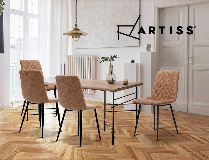 Artiss 2x Retro Iron Leg Dining Chairs - Brown - Factory Direct Oz