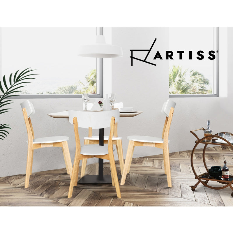 2x Artiss Alva Retro Dining Chairs - White Wooden Seat - Factory Direct Oz