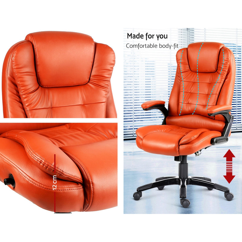 8 Point PU Leather Reclining Massage Chair - Amber - Factory Direct Oz