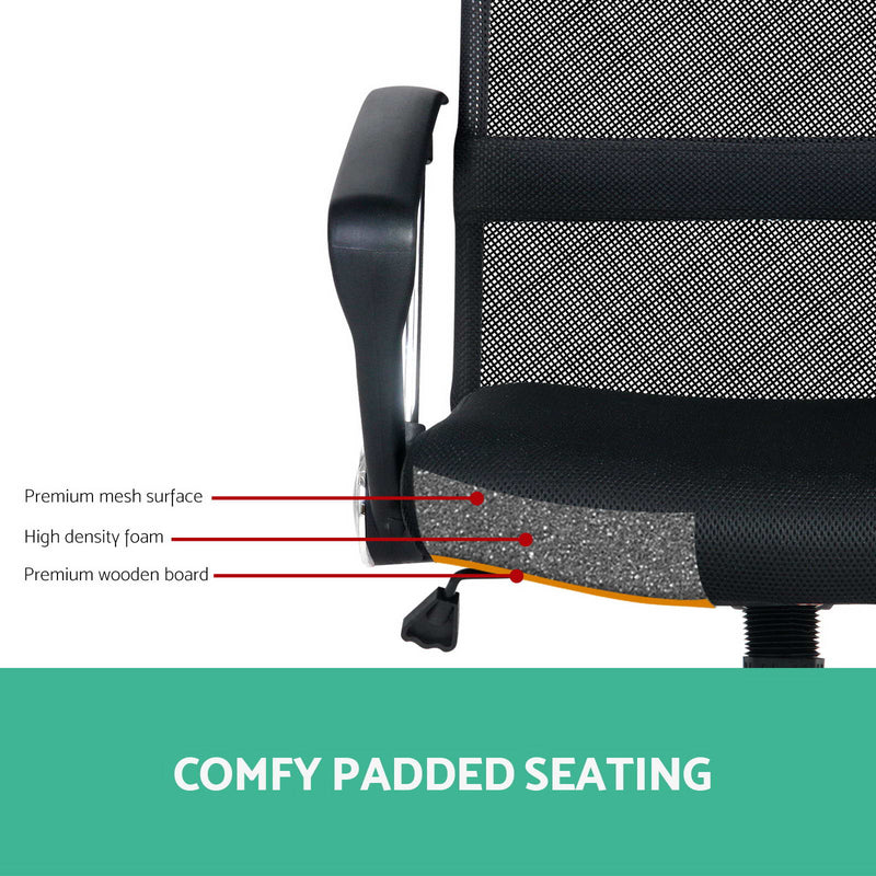 PU Leather & Mesh High Back Office Chair - Black - Factory Direct Oz
