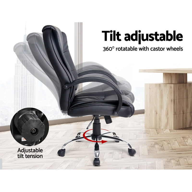Executive PU Leather Office Chair - Black - Factory Direct Oz