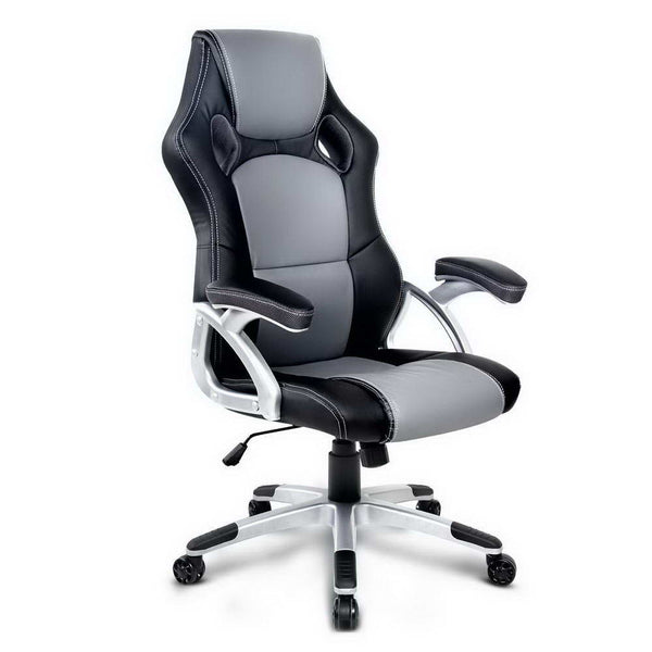 PU Leather Racing Style Office Chair - Black & Grey - Factory Direct Oz