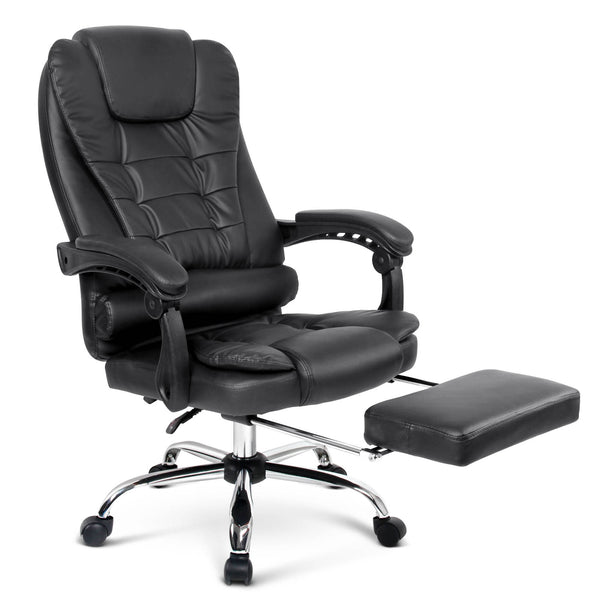 PU Leather Reclining Chair with Footrest - Black - Factory Direct Oz