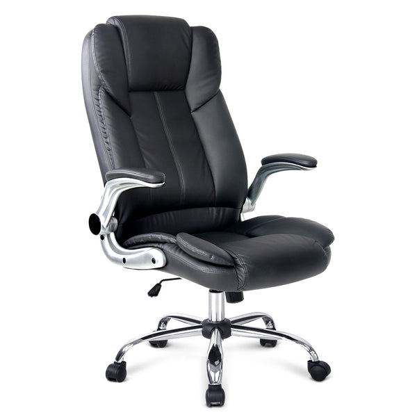 PU Leather Executive Office Desk Chair - Black - Factory Direct Oz