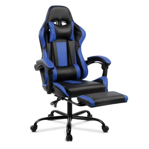 Artiss Gaming PU Chair w/ Footrest - Black / Blue - Factory Direct Oz