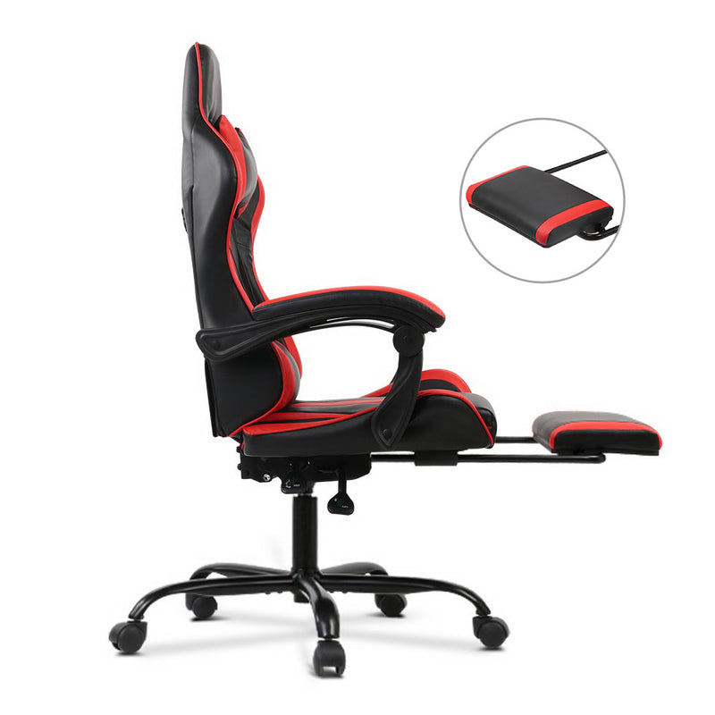 Artiss Gaming PU Leather Chair w/ Footrest - Black & Red - Factory Direct Oz